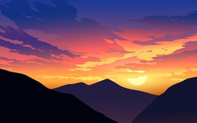 Ilustração do céu ao pôr do sol da montanha