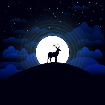 Ilustração do céu noturno com as estrelas e as nuvens da lua dos cervos.