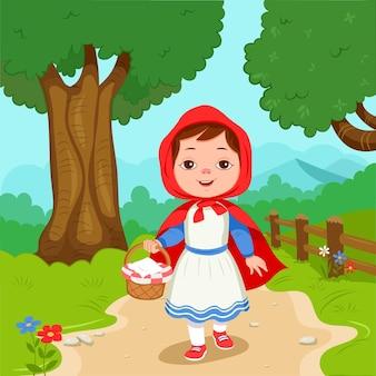 Ilustração do chapeuzinho vermelho dos desenhos animados