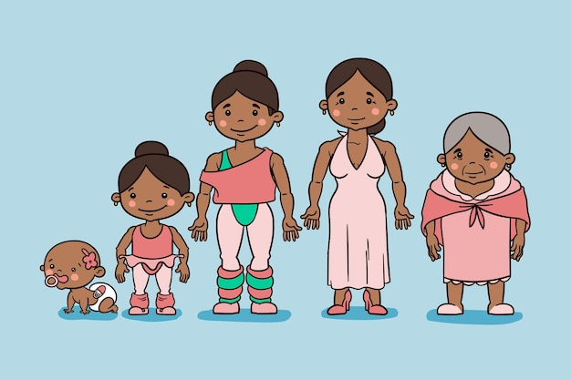 Ilustração do ciclo de vida desenhada à mão