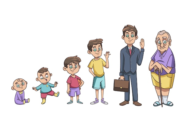 Ilustração do ciclo de vida do homem desenhada à mão