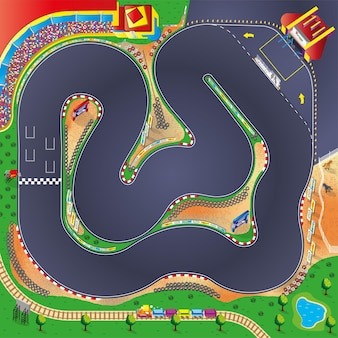 Ilustração do circuito da pista do carro de corrida com elementos esportivos para crianças brincarem com tapete e tapete rolante