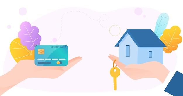 Ilustração do cliente humano segurando a mão do cartão de crédito