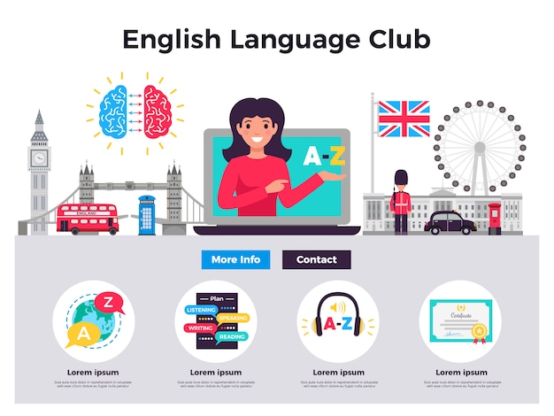 Ilustração do clube de língua inglesa