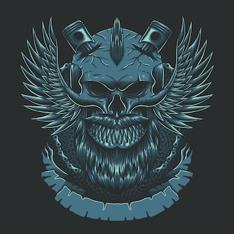 Ilustração do clube de motocicletas da asa do crânio