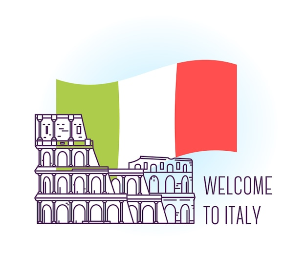Ilustração do coliseu marco de roma símbolo da itália pontos turísticos da europa