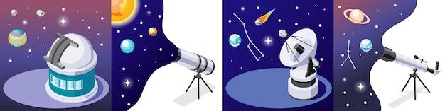 Ilustração do conceito 4x1 isométrica de astronomia