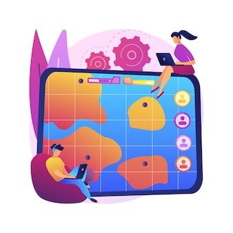 Ilustração do conceito abstrato da arena de batalha online multijogador. arena de batalha multiplayer, jogo online massivo, mmog, moba arts, estratégia de ação em tempo real, plataforma de jogos.