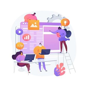 Ilustração do conceito abstrato da equipe de desenvolvimento de software