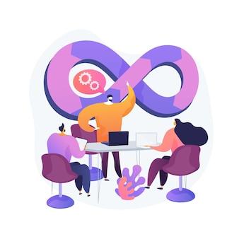 Ilustração do conceito abstrato da equipe devops
