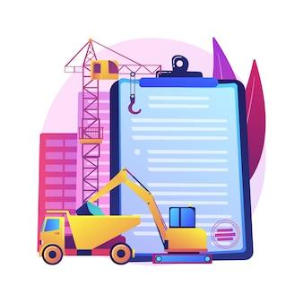 Ilustração do conceito abstrato da licença da indústria de construção. registro de construtor local, qualificação técnica, qualidade e reputação, carreira na construção, avaliação