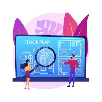 Ilustração do conceito abstrato da planta baixa dos bens imobiliários. serviços on-line de planta baixa, marketing imobiliário, listagem de residências, layout de propriedade interativo, encenação virtual.