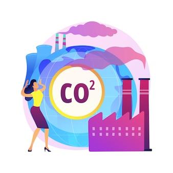 Ilustração do conceito abstrato das emissões globais de co2. pegada de carbono global, efeito de estufa, emissões de co2, taxa e estatísticas do país, dióxido de carbono, poluição do ar
