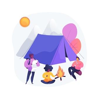 Ilustração do conceito abstrato de acampamento de verão para crianças