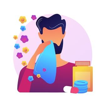 Ilustração do conceito abstrato de alergia sazonal. imunoterapia para alergia ao pólen, diagnóstico de doenças alérgicas, teste de alergia sazonal, congestão nasal, aconselhamento especializado, metáfora abstrata.