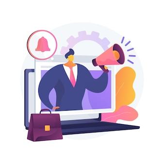Ilustração do conceito abstrato de alerta de trabalho. notificação de trabalho, alerta de carreira, informações de oportunidade de trabalho, status de inscrição online, rh digital, serviço de recursos humanos