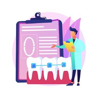 Ilustração do conceito abstrato de aparelho dentário. procedimento odontológico, método de correção de aparelho ortodôntico, tratamento de dentes apinhados, problema ortodôntico, alinhador e retentor dentário, metáfora abstrata de braquete.