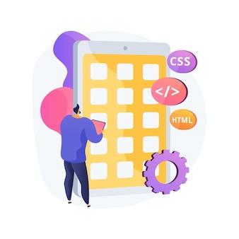 Ilustração do conceito abstrato de aplicativo móvel híbrido. aplicativo de software, aplicativo nativo e aplicativo da web, código-fonte, plataforma de destino, execução offline, diretrizes de design