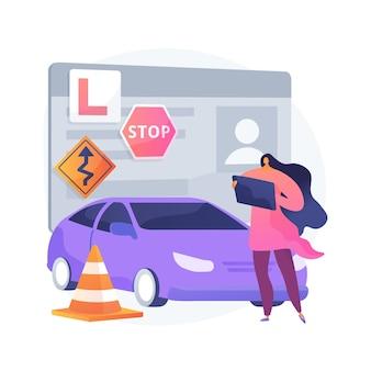 Ilustração do conceito abstrato de aulas de direção