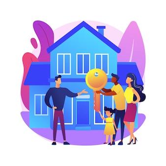 Ilustração do conceito abstrato de bens imobiliários. agência imobiliária, mercado imobiliário residencial, industrial, comercial, carteira de investimentos, casa própria, valor da propriedade.