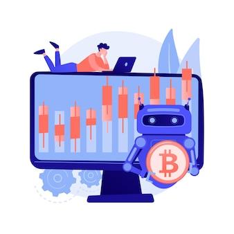 Ilustração do conceito abstrato de bot de negociação criptográfica