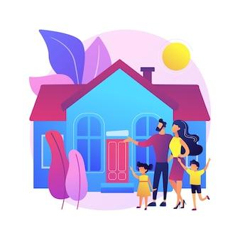 Ilustração do conceito abstrato de casa familiar. moradia unifamiliar isolada, moradia familiar, unidade de habitação unifamiliar, moradia geminada, residência privada, empréstimo hipotecário, entrada.
