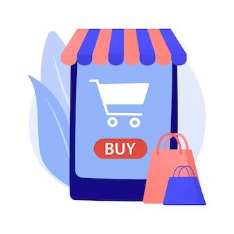Ilustração do conceito abstrato de compras online