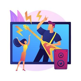 Ilustração do conceito abstrato de concerto virtual. transmissão ao vivo em quarentena, mídia social, performance de música online, distância social, ficar em casa, show privado mundial.