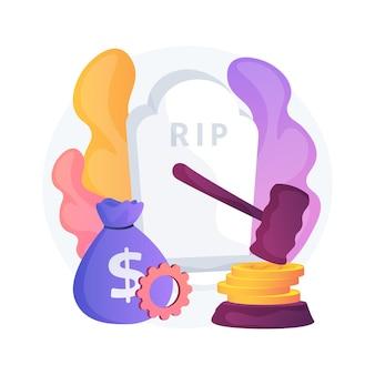 Ilustração do conceito abstrato de concessão de morte. benefício de subsídio de luto, pagamento do governo, seguro de morte, esposa, marido, cônjuge morreu, más intenções, acidente de carro, emergência