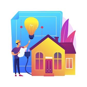 Ilustração do conceito abstrato de construção elétrica residencial. planejamento de pré-construção, empreiteiro licenciado, necessidades de iluminação e eletrodomésticos, projeto de eficiência energética