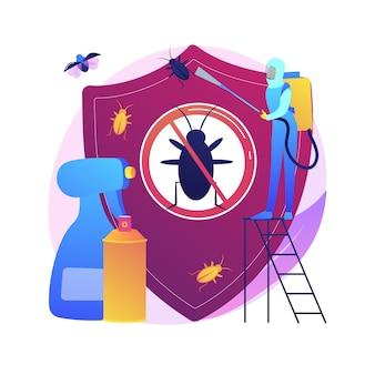 Ilustração do conceito abstrato de controle de insetos-praga em casa. controle de insetos de pragas, serviço de exterminador de vermes, equipamento de tripes de insetos, solução diy, proteção de jardim doméstico