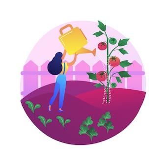 Ilustração do conceito abstrato de cultivo de vegetais. jardinagem doméstica para iniciantes, plantio no solo, alimentos orgânicos, sementes de salada, jardim de recipiente, comer alimentos frescos.