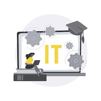 Ilustração do conceito abstrato de cursos de tecnologia da informação.