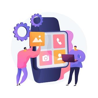 Ilustração do conceito abstrato de desenvolvimento de aplicativos móveis smartwatches