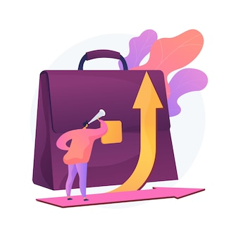 Ilustração do conceito abstrato de desenvolvimento de carreira. mudança de carreira, gerenciamento de carreira alternativa de sucesso, reciclagem para um novo emprego, desempenho do funcionário, responsabilidade no trabalho