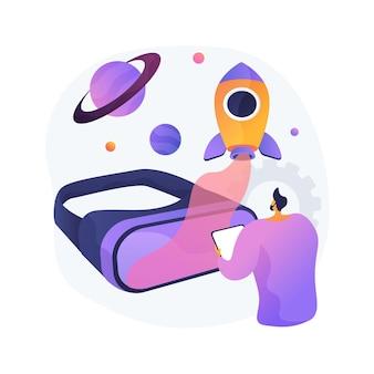 Ilustração do conceito abstrato de desenvolvimento de mundo virtual