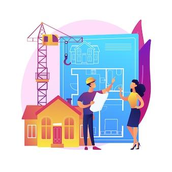 Ilustração do conceito abstrato de desenvolvimento imobiliário. desenvolvimento de propriedade, negócio imobiliário, compra de terreno, projeto de construção, gestão de empresa, planejamento de negócios