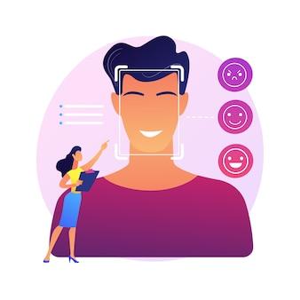 Ilustração do conceito abstrato de detecção de emoção. fala, reconhecimento de estado emocional, detecção de emoção a partir de texto, tecnologia de sensor, aprendizado de máquina, rosto de leitura de ia.