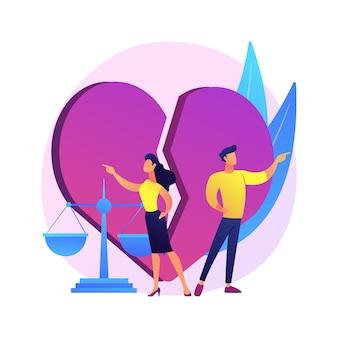 Ilustração do conceito abstrato de divórcio. dissolução do casamento, separação, por meio da sentença de divórcio, conflito entre marido e mulher, separação saudável, pais brigam, separação