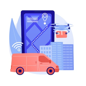Ilustração do conceito abstrato de entrega autônoma