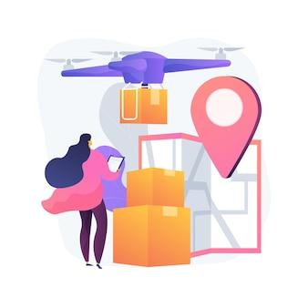 Ilustração do conceito abstrato de entrega de drone
