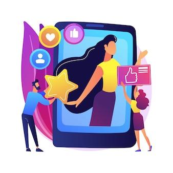 Ilustração do conceito abstrato de estrela de mídia social. influenciador, alcance e envolvimento na mídia social, monetização de contas de celebridades, blog pessoal, criação de conteúdo de estrelas.