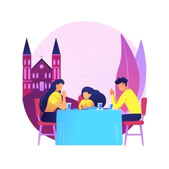 Ilustração do conceito abstrato de evento cristão. oração cristã antes de comer