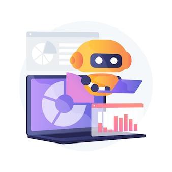 Ilustração do conceito abstrato de ferramentas de marketing com tecnologia de ia