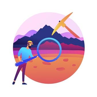 Ilustração do conceito abstrato de geologia. ciências da terra aplicadas, estudo de rochas físicas, geologia para crianças, pesquisa de minerais, formação da paisagem, exploração do solo.