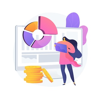 Ilustração do conceito abstrato de gerenciamento de dados financeiros