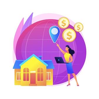 Ilustração do conceito abstrato de impostos internacionais e não residentes. imposto sobre o rendimento das sociedades não residentes, responsabilidade por negócios internacionais, tributação sobre estrangeiros residentes.