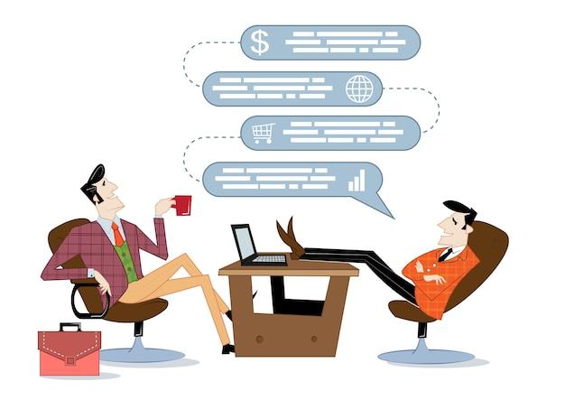 Ilustração do conceito abstrato de inicialização e comunicação de negócios. centro de inicialização, suporte financeiro, financiamento coletivo.