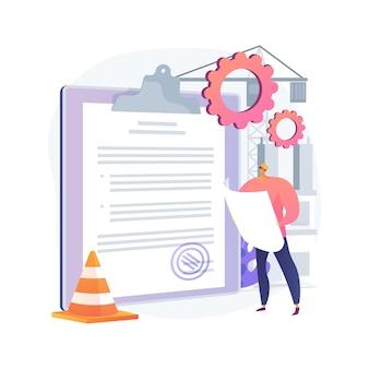 Ilustração do conceito abstrato de licença de construção. aprovação oficial, serviço de empreiteiro, projeto de reforma de propriedade, planta de casa, formulário de inscrição, negócio imobiliário