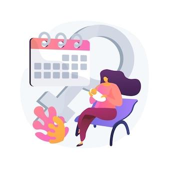 Ilustração do conceito abstrato de licença de maternidade. mulher grávida, esperando um bebê, mãe feliz, mãe trabalhadora, escritório em casa, cuidar dos filhos, carrinho de bebê, passeio com a família